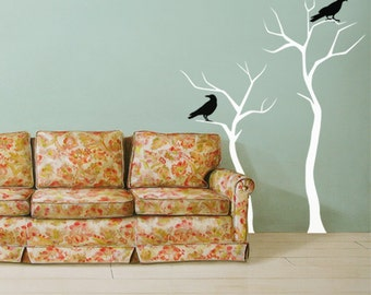 White Winter Trees, Two Black Crows, Wall Decal, Halloween Decoration, Crows Stickers, Halloween Decals, Tree Decal, Halloween Tree ID704P