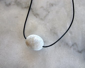 One oval beach pebble stone pendant necklace #1829