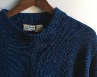 Vintage Navy L.L.Bean Wool Sweater Mens Large USA Made