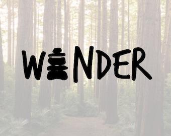 Wander hiking cairn vinyl decal sticker