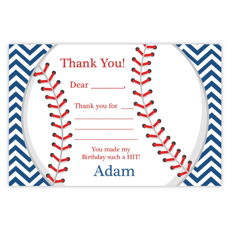 Béisbol gracias tarjeta Adorable azul marino rayas Chevron
