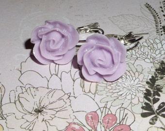 CLEARANCE SALE - Purple lever back resin flower earrings