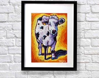 """Cow painting, Cow print, Cow Art, Cowgirl print, Cow fun whimsical art from Original Painting by Tod C Steele, 8x10""""  Title: 'Peg'"""