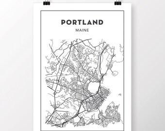 FREE SHIPPING to the U.S!! PORTLAND, Maine Map Print
