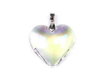 Large heart shaped Crystal reflections AB 33 mm