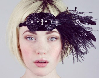 Deco Flapper Feather Headband Choose From Black Silver Or Gold Beaded Applique