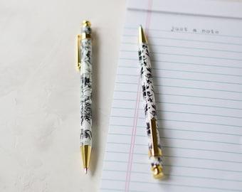 Black + White + Gold Floral Ballpoint Ink Pens - 2 pc