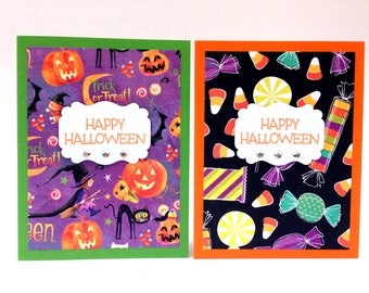 Halloween Cards for Kids - Happy Halloween Cards Handmade - Witch Pumpkin Card - Halloween Greeting Cards Handmade - Halloween Cards Set