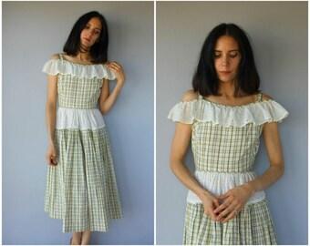 Vintage 1940s Dress • 40s Cotton Dress • 1940s Sun Dress • 1950s Day Dress • 50s Dress • 1940s Cold Shoulder Dress- (small)