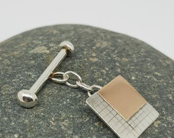 Santiago by Fedha - rose gold and silver cufflinks with bar and chain fastening
