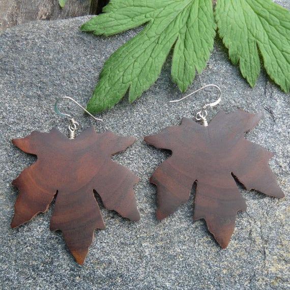 Large Wood earrings, Maple leaf earrings, Sterling silver leaf earrings, Oversized Boho Lightweight earrings, Dangle drop earrings, Earthy