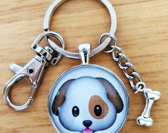 Happy Dog Emoji Keychain-Necklace-Pendant-Spotted  Dog-Dog Bone-30mm Round Glass Dome-Shiny Silver-Bezel Tray-Clasp-Purse Charm-Rolo Chain