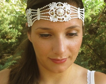 Bridal forehead band, Bridal lace headband, wedding headpiece, lace headpiece, bridal headpiece, lace forhead band, boho bride headpiece.
