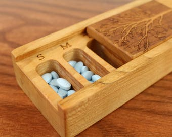 Tree of Life Cherry Vitamin Box,  Days of the Week, Wooden Pill Box, Medium Depth, Paul Szewc, Masterpiece Laser