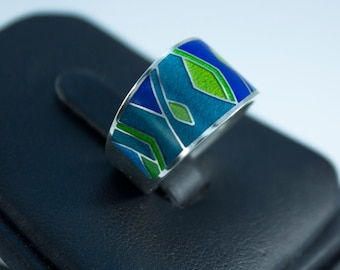 Ornament Jewelry Enamel Jewelry Math Ring Silver Abstract Ring Geometry Ring Cloisonne Jewelry Ring Gift For Her Estonian Blue Hot Enamel