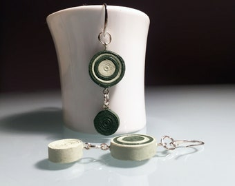Pendant earrings with open hoop made of paper and steel handmade unique piece. Jewel made by quilling technique. Colours: light, dark green.