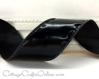 """Halloween Wired Ribbon 1 1/2"""", Black Gloss """"Patent Leather"""" Look, THREE YARDS - Offray """"Patina"""" Fall Craft Wire Edged Ribbon"""