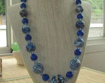 Faux Lapis Lazuli Beaded Statement Necklace - Polymer Clay Statement Jewelry for Women