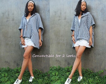 Checkered print convertible poncho (one size fit all)