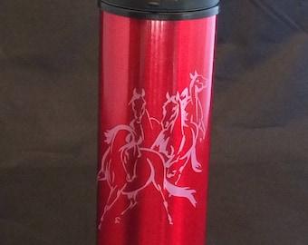 Running horse engraved travel mug! Free shipping!