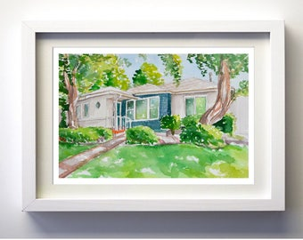 "Home portrait custom made from photos watercolor painting of your house 8""x10"""