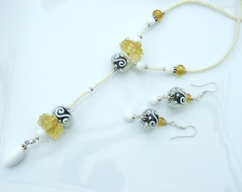 ARTIST BEAD SET - Elegant Looped Over Long Pendant Necklace and Earrings