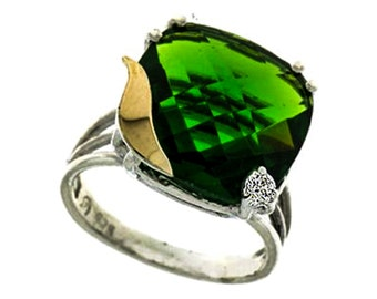 Green Zirconia Ring, Silver and Gold Ring, Sterling Silver Ring, 9 Karat Gold Ring,  December Birthstone, Fashion Ring, handmade