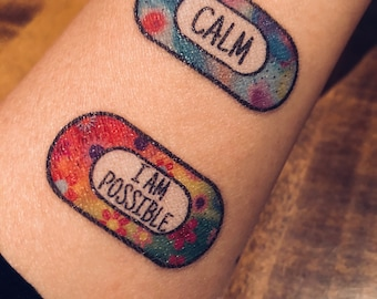Anxiety Temporary Tattoos, 15 tattoos/pack, Self care Plaster Tattoos, Mental Wellness gift. JAZZY Pack