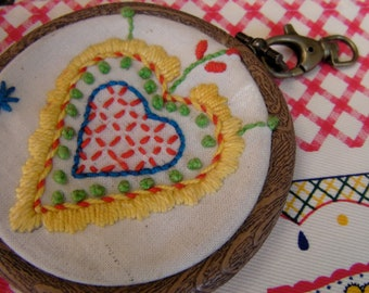 Heart Pendant, Valentines DIY gift for Girlfriend, embroidery kit, pendant with a flexi hoop, Portuguese Heart Valentines necklace tutorial