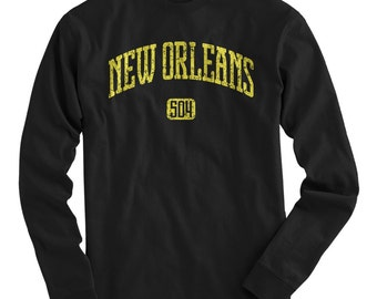 LS New Orleans 504 Tee - Long Sleeve T-shirt - Men and Kids - S M L XL 2x 3x 4x - New Orleans Shirt, NOLA - 4 Colors