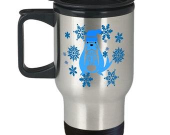 Walrus Travel mug Have an ice day Double wall tumbler Coffee travel mug Tea travel mug Mug with lid To go mug Stainless travel mug Hot cold