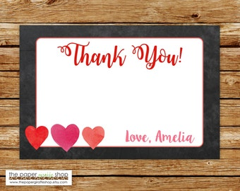 Our Little Sweetheart Thank You Card | Little Sweetheart Party Theme Chalkboard Thank You Card | Valentines Thank You Card | Hearts