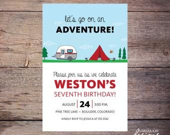Camping Birthday Invitation, Adventure, Party, Outdoors, Print at Home Birthday Invitation, birthday invite, Printable Invitation – Weston