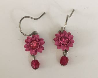 Vintage  signed Bake Bead Flower  Dangle Earrings