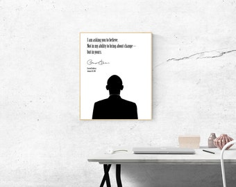 President Barack Obama 2017 Farewell Address Poster | Digital Download | Wall Art | Modern Minimalist | Black and White | Home Decor