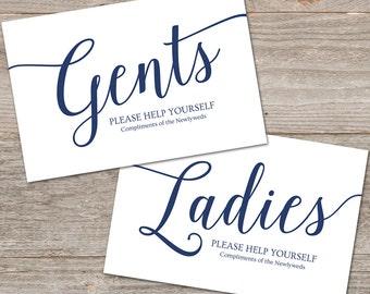 Navy Wedding Bathroom Basket Sign // DIY Printable Bathroom Signs for Wedding // EDITABLE Bathroom Sign Printable
