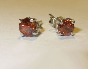 Hyacinth Red-Orange Zircon Stud Earrings in Solid Sterling Silver - Gorgeous Clean Natural Mined from Earth Genuine Gemstones