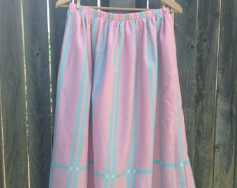 VINTAGE Pink & Turquoise Striped Full Skirt