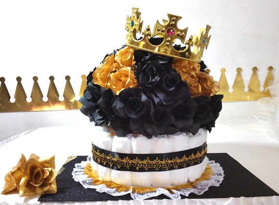Black Gold Diaper Cake Crown Centerpiece For Prince Baby
