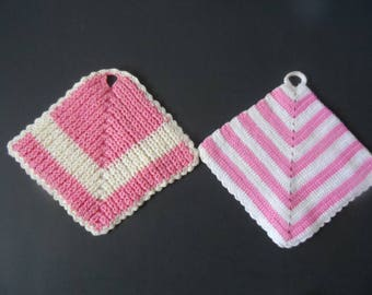 FREE SHIPPING in USA Set of 2 Pink and White Square Vintage Cotton Hand Crocheted Pot Holders   593A