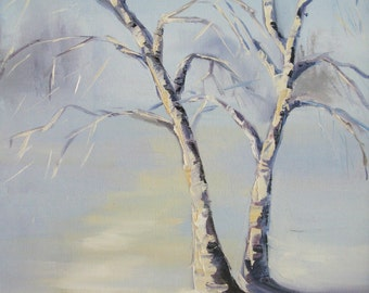 Winter birch tree oil painting ORIGINAL small painting, oil on canvas, 11*14 inches, Fine Art gallery quality