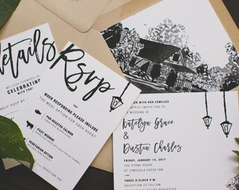 Modern Black and White Watercolor Wedding Invitation