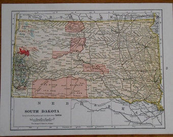 Vintage map of South Dakota, Old 1920s small size antique US state map by G F Cram