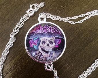 Hand Made Dia De Los Muertos Skeleton Necklace Silver Chain