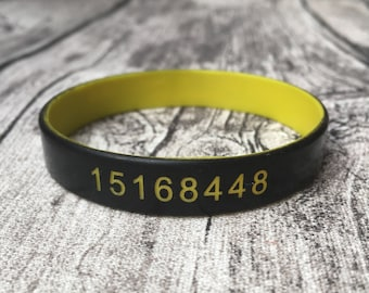 Silicone Wristband Gym Code Access Pin Personalized Personalised Custom Engraved Silicone Band One Off Mens Womens ID Bracelet Customised UK