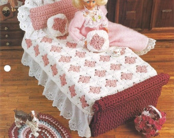 Grandmas Feather Bed, Crochet Pattern, Doll Bed, Doll Quilt, Doll Pillow, Annies Fashion Doll, Vintage 1996, FCC13-03, Sewing Supplies, Cute