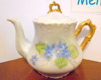 Hand painted Bluebell Teapot, Gold accents, stamped, mid century teapot,  vintage tea pots, kitchen collectibles, Bluebell flowers