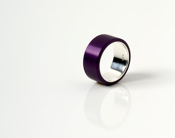 aluminium ring, сolour ring, aluminium silver ring, gift ideas, purple color ring,