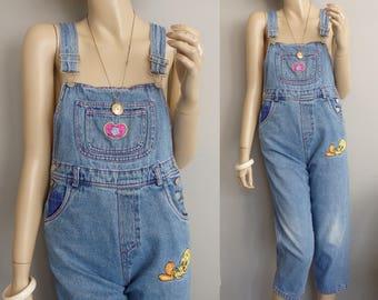 90s grunge Looney Tunes Tweety Bird denim jean bib overalls distressed Bib Overalls  girls 10/12