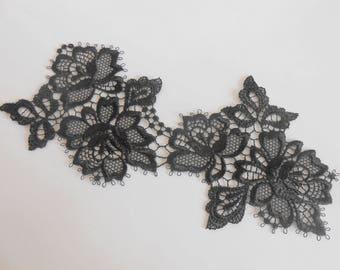 Large applique lace black 19 x 9 cm